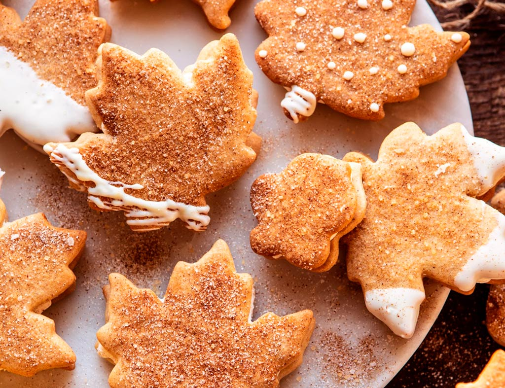 Beautiful cutout Autumn Maple Cookies, shaped as leaves.