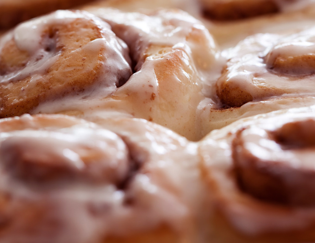 Maple Pecan Latte Rolls, jelly-roll style, with maple frosting