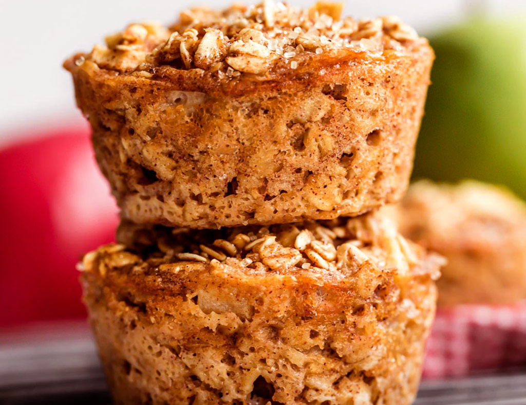 Two Fruit Granola Maple Muffins standing one on one