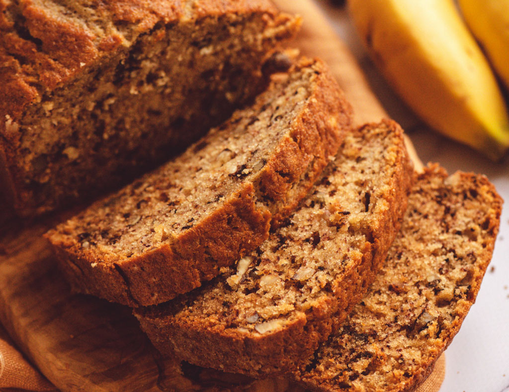 Sliced Maple-Banana Bread with Walnuts